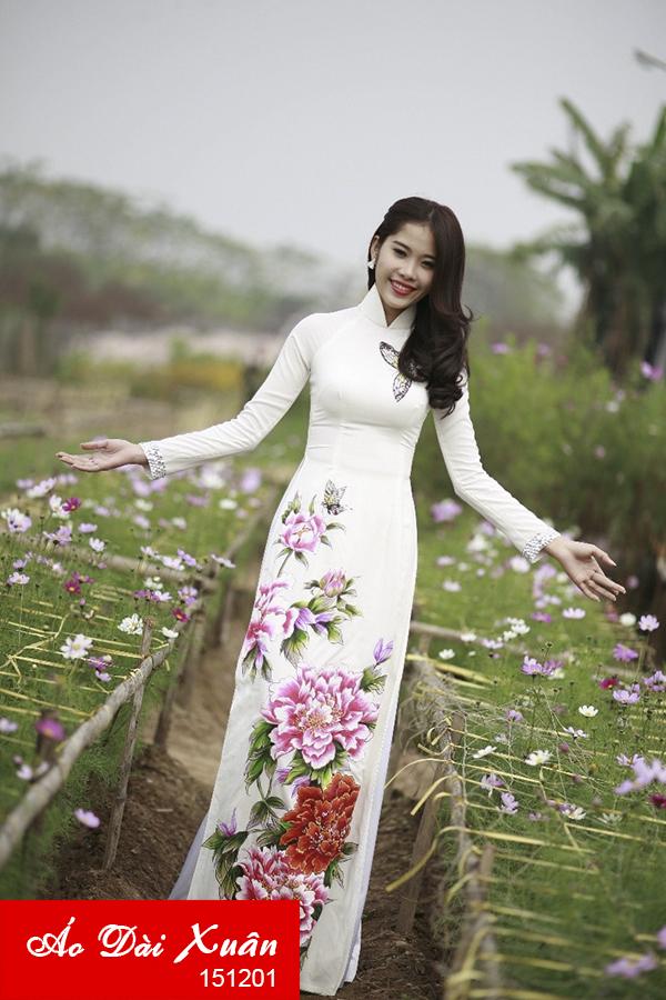 áo dài hoa mẫu đơn - 151201