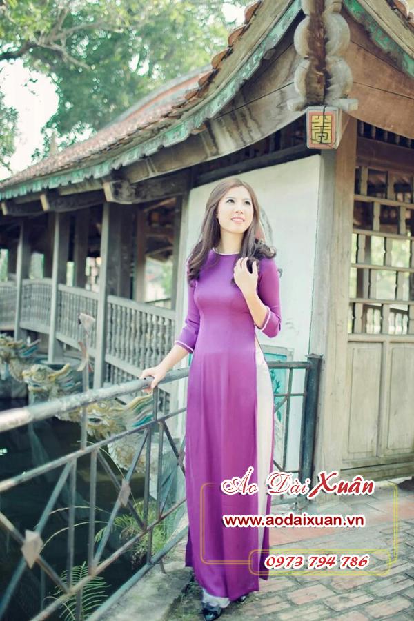 áo dài tím ngọc trai - 150961